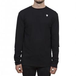 T-shirt Manches longues Minimaliste - noir / broderie blanche