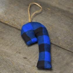 Canne carreautée bleue et noir