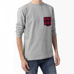 T-shirt Manches longues  - gris / poche carreaux