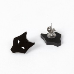 Earrings - Black Wolf