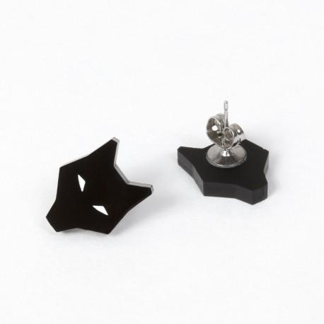 Boucles d'oreilles - loup noir