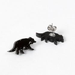 Boucles d'oreilles - sketch loup