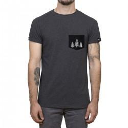 T-shirt charcoal / manches roulées + poche