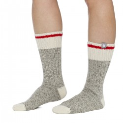 GRAY WOOL SOCK / RED STRIPE