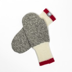 GRAY WOOL MITTEN / RED STRIPE