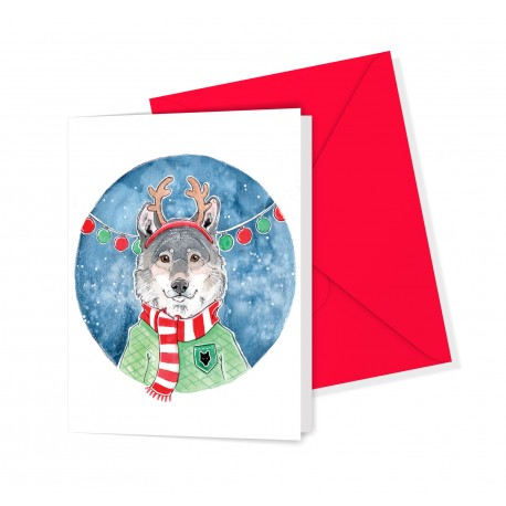 Greeting card / holiday wolf