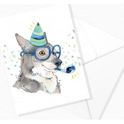 Greeting card / festive wolf