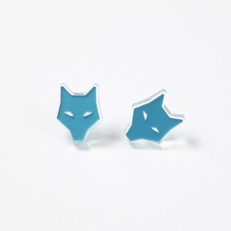 Earrings - Aqua wolf