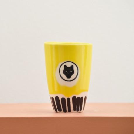 Yellow ceramic glass - black lines