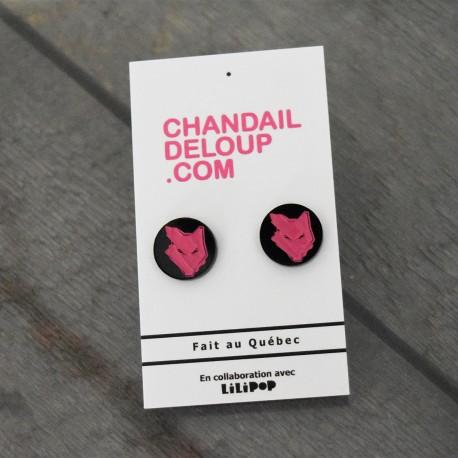 Earrings - Pink Wolf