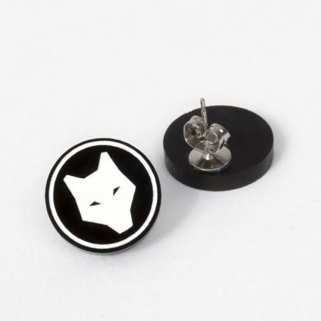 Earrings - White Wolf