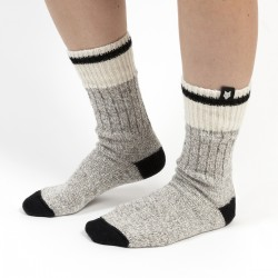 GRAY WOOL SOCK / BLACK STRIPE