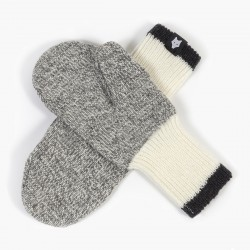 GRAY WOOL MITTEN / BLACK STRIPE